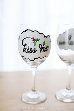 KISS ME Christmas Wine Glass . Hand-Painted, Water-Resistant by LIMEFISHSHOP on Etsy