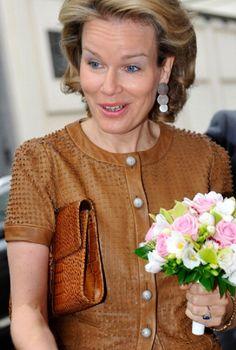 Princess Mathilde of Belgium during a visit in Education Week in Brussels