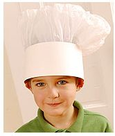 How to make your own Chef Hats    CRAFT MATERIALS:  White poster board  White tissue paper  Tape  Paper clips    Time needed: Under 1 Hour  1. Start with a band of white poster board 26 inches long and 3 1/2 inches high, and 3 sheets of 20- by 30-inch white tissue paper. Fold each sheet in half the long way. Make sure you write each guests name on the white poster board.    2. Gather and tape one of the short sides of each sheet along the hat band, overlapping the sheets slightly.    3. Curl ...