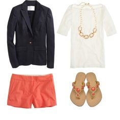 Navy and coral...cute summer outfit!