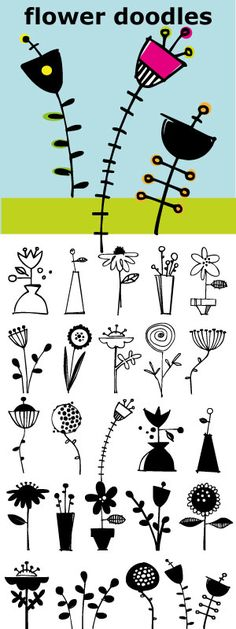 line drawings, 30 flower, flower draw, flower doodling, doodle lines