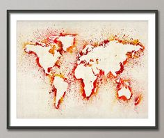 Just cut out a world map, put it on top of another paper, and splatter paint. Peel off the world map..