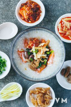 Vegan Taiwanese Congee with Sweet Potato and Condiments