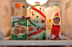 Elf on the Shelf idea - Elf decorates the milk carton beards, dye, shelf idea, elf on shelf, cooki, milk cartons, toddler, elv, christmas trees