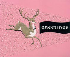 Vintage pink reindeer Christmas card