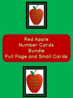 Here is the red apple number cards in a bundle. The bundle includes both the Red Apple Full Page Number Cards 0-100 and Red Apple Number Cards 0-100 (small cards).