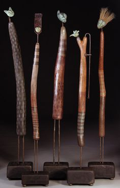 Artist Kimberly Willcox~Group of Story Poles, recycled materials