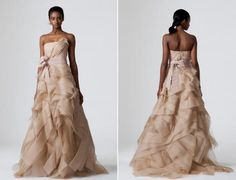 vera-wang-spring-2010-wedding-dresses-cocoa-taupe-fitted-bodice-lots-of-fabric-overlay