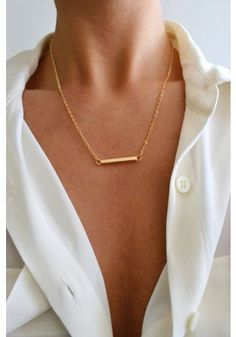 Stunning bar necklace with button up. Simple elegance. bling, fashion, cloth, style, accessori, bar necklac, necklaces, wear, jewelri