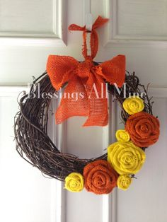 "14 inch Grapevine Wreath, Burlap Yellow & Orange Flowers, Summer Fall Wreath, ""Candy Corn"" Wreath on Etsy, $28.00"