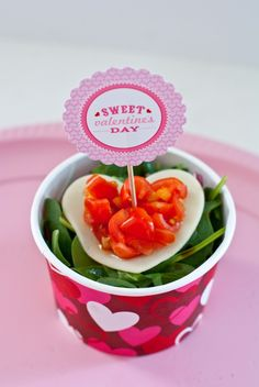 Valentine's Lunch Idea: Simple salad with a heart shaped cheese topper and tomatoes