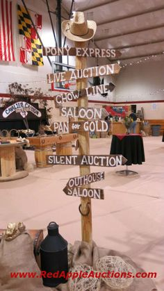 "A ""Gold Rush"" theme carried out all the way including the signage. gold rush theme, gift auction, auction idea, auction themes, western theme, fundrais idea"