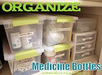 How to #organize medicine bottles. http://www.askannamoseley.com/2011/06/reader-question-how-to-organize.html
