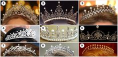 1. The Cartier Loop Tiara, from Spain 2. The Kent Festoon Tiara, from Britain 3. The Chaumet Diamond Pearl Choker Tiara, from Luxembourg 4. Princess Takamado's Tiara, from Japan 5. Mary's Wedding Tiara with added pearls, from Denmark 6. The Lotus Flower Tiara, from Britain 7. King Olav's Gift Tiara, from Norway 8. Princess Claire's Diamond and Pearl Tiara, from Belgium 9. The Kent Diamond and Pearl Fringe Tiara, from Britain