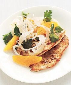 Chicken With Fennel-Orange Salad from realsimple.com #myplate #protein #vegetables