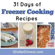 We are starting a new 31 Days series for October all about Freezer Cooking Recipes!  Join us!   5DollarDinners.com