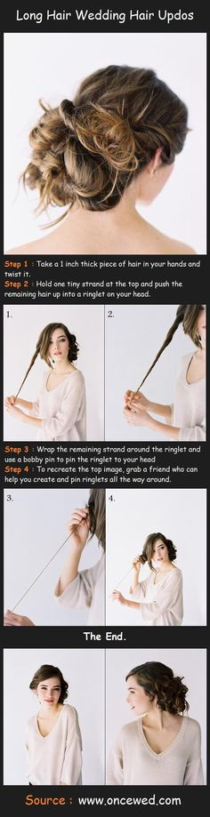 Wedding Hair Updo Tutorial - my friend has super long hair and I'm styling it for military ball