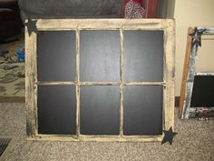 Primitive Crafts | Pane Window Primitive Vintage Country Chalkboard Tan With Black ...