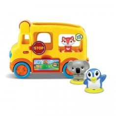 The Learning Friends Adventure Bus is a toy school bus that plays songs and phrases and comes with three animal figures.