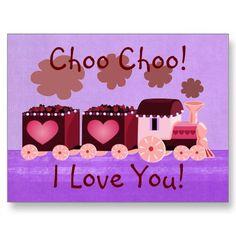 Choo Choo Train Valentine Postcard