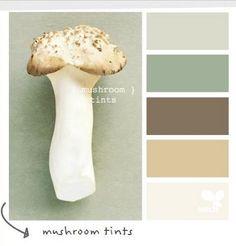 Mushroom Tints Color Scheme.  Possible colors for lake cottage. mushroom tint, living rooms, color palettes, bathroom colors, design seeds, color schemes, kitchen colors, bedroom colors, master bedrooms