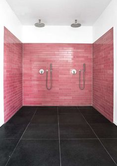 Pink wall tiles and slate floor