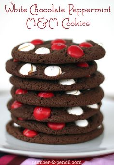 WHITE CHOCOLATE PEPPERMINT M AND M COOKIES