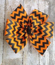 Chevron Hair Bow - Halloween Hair Bow - Orange and Black Bow on Etsy, $5.00