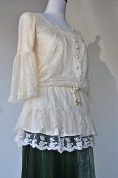 Romantic And Vintage Lace Blouse For The Holiday by jonvangilder, $75.00