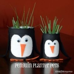 Penguin Planter Pets, upcycle cans