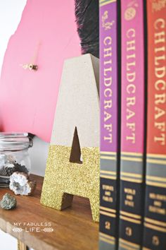 My Fabuless Life - DIY glitter dipped bookends