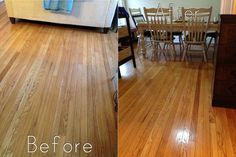 natural hardwood floor cleaner recipe: before and after