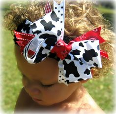 "Country Girl Cow Print & Red Bandana 6.5"" Large Boutique Bow"