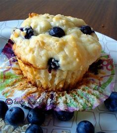 Recipe for Power Muffins - Yeah, I said it, POWER muffin baby. Greek yogurt, blueberries, and oatmeal will have you a POWER breakfast.