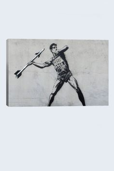 Street Art: Banksy Javelin Thrower 18in x 12in Canvas Print