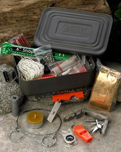 I hate fish,but I hate being dead more. Ultimate Adventurer Survival Kit (Basic or Advanced) Great for cars. 1.5lbs  http://www.henryrepeating.com/st-survival-kit.cfm#