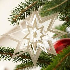 This simple snowflake ornament is made from a single piece of cardstock.