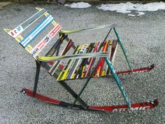a rocking chair made of old skis