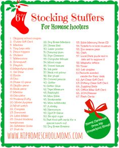 Printable Homeschool Stocking Stuffer Ideas