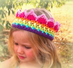 CUSTOM Rainbow Crochet Crown Boutique Color Block by GreenFoxFarms, $20.00