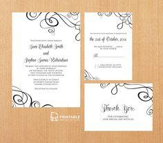 swirl invit, elegant wedding invites swirl, ribbon swirl