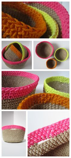 Another take on crochet baskets....I like the neon accents. Tutorial by Construction Documents