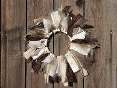 Woodland Rustic Themed Wedding Table Centerpieces Burlap Lace Tulle and Fabric Wreaths. $120.00, via Etsy.