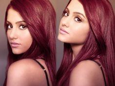 dark maroon hair color.Pretty