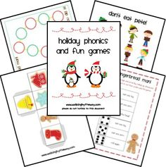Printable Holiday Games - (Roll, Say, Keep; Don't Eat Pete!; Egg Carton Shake-up, Catch the Gingerbread Man, Snowman Smash!, Cookie Flip, and Eat the Gingerbread Man.) - Pinned by @PediaStaff – Please visit http://ht.ly/63sNt for all (hundreds of) our pediatric therapy pins