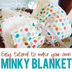 Super easy Minky Blanket tutorial with a cotton print! from howdoesshe @ DIY Home Ideas
