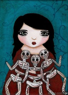 Alison's Skeleton Dolls by Ryan Conners #etsy #painting #art