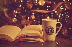 Open Book, Christmas Tree, and Starbucks Mug #xmas #ribbons