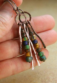 rustic earrings, allowingartdesign, copper fring, mix bead, earrings beads
