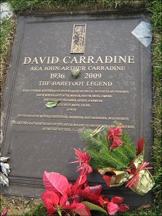 """THE GRAVE OF DAVID CARRADINE  (actor - """"Kung Fu"""", """"Kill Bill"""", """"Bound for Glory"""") at Forest Lawn Hollywood Hills, California"""
